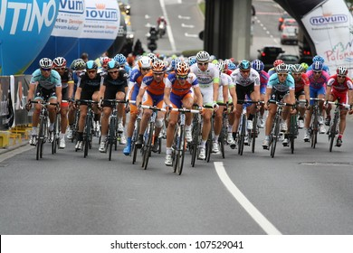 KATOWICE, POLAND-JULY 13:Unidentified cyclists in action during IV stage from Bedzin to Katowice at 69 Tour de Pologne, the biggest cycling event in Eastern Europe on July 13, 2012 in Katowice, Poland