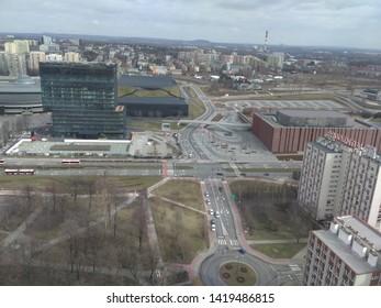 Katowice, Silesia / Poland - 03 10 2019 Aerial  view on Katowice centre and roundabout.