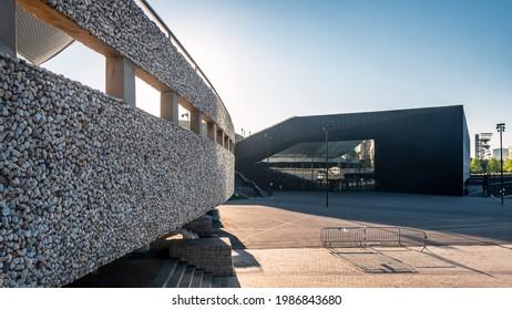 Katowice, Silesia, Poland; June 4, 2021: View on the Międzynarodowe Centrum Kongresowe (International Congress Centre) and Hala Widowiskowo - Sportowa Spodek (Spodek Arena)