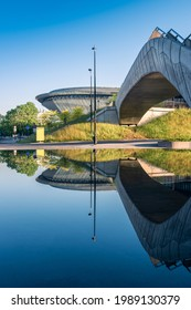 Katowice, Silesia, Poland; June 4, 2021: View on the Spodek Arena and a concrete bridge