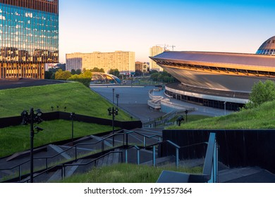 Katowice, Silesia, Poland; June 4, 2021: View on the Spodek Arena, International Congress Centre and office building KTW; city panorama in background