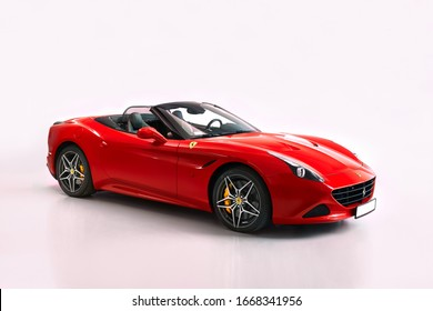Katowice/Poland - 04.13.2019: Red Ferrari California T. Cabriolet with V8 BiTurbo engine, 3.9L, 560 hp