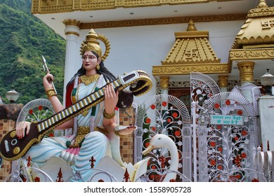 Katra, Jammu / India - Oct 23 2019: Big Goddess Saraswati Idol on the trek of Vaishno Devi