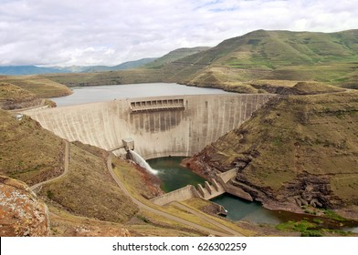 The Katse Dam, a concrete arch dam on the Malibamat'so River in Lesotho.