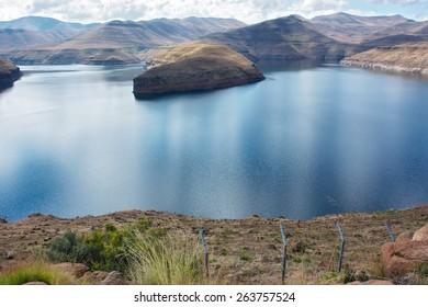 Katse Dam - panoramic view. Shot in Lesotho.