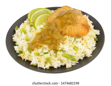 Katsu chicken curry with rice isolated on a white background