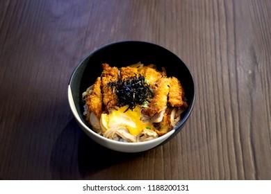 Katsu Don, Rice Fried Pork, Japanese Katsu Don food rice
