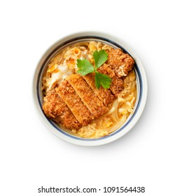 Katsu-don(bowl of rice topped with pork cutlet and eggs)