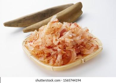 Katsuobushi. Dried-bonito shavings. Japanese food.