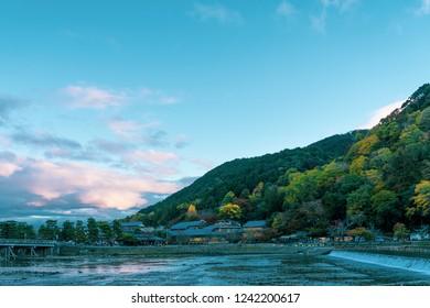 Katsura River in the Arashiyama area of Kyoto, Japan in autumn