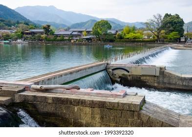 Katsura river in Arashiyama town, Kyoto prefecture, kansai, Japan.