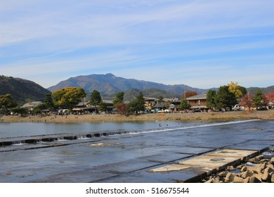 Katsura River in front of Arashiyama Mountain in Kyoto