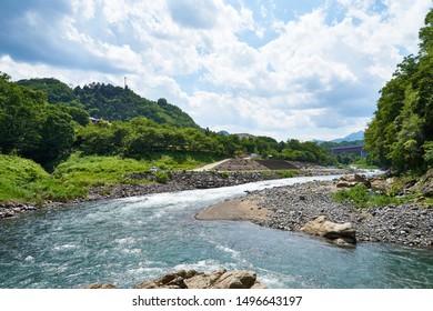 Katsura River in summer Scenery of Otsuki City, Yamanashi Prefecture
