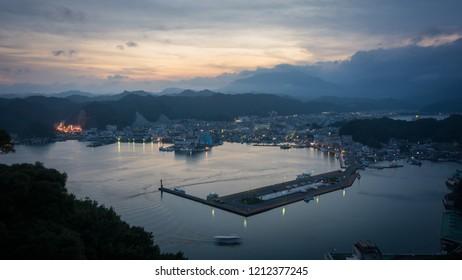 Katsuura Harbor with Nachikatsuura town view in the evening taken from Hotel Urashima, Wakayama, Kansai, Japan