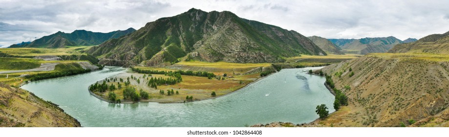 The Katun River in the background of the mountain. Altai, Russia