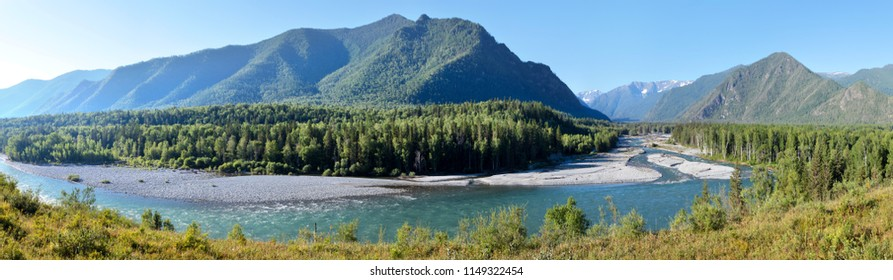 The Katun River flows in the Altai mountains, the summer sunny landscape, large panorama