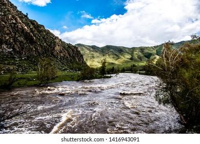 Katun river in spring, Altai