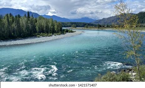 Katun river in Tungur village, Altai, Russia