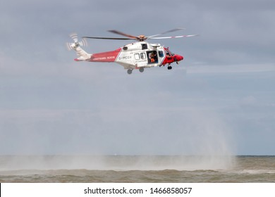 KATWIJK AAN ZEE, THE NETHERLANDS - JULY 6, 2019: Bristow Helicopters AgustaWestland AW189 with registration G-MCGV in operation for the British Coastguard