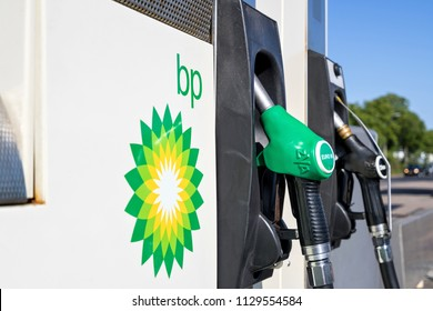 KATWIJK AAN ZEE, THE NETHERLANDS - June 13, 2018: BP gas station. BP is a British multinational oil and gas company headquartered in London, England.