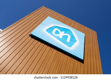 KATWIJK AAN ZEE, THE NETHERLANDS - June 13, 2018: Albert Heijn sign at branch. Albert Heijn is the largest Dutch supermarket chain and a key brand of Ahold Delhaize, an international food retail group