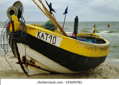KATY RYBACKIE, POMERANIA, POLAND - JUNE 14: An old fishing boat on the Baltic shore on June 14, 2012 in Katy Rybackie, Pomerania, Poland