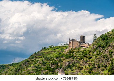 Katz Castle at Rhine Valley (Rhine Gorge) near St. Goarshausen, Germany. Built in 1371 and rebuilt in 1896.