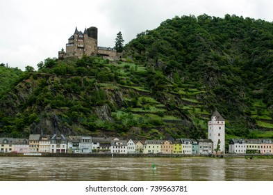 Katz Castle and St. Goarshausen, Germany
