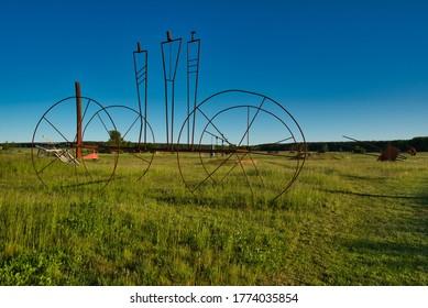 Katzow, Mecklenburg-Vorpommern / Germany - June 1, 2020: Amazing sculpture park (Skulpturen Park) near Katzow between Greifswald and Wolgast