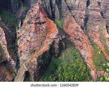 Kauai, Hawaii: aerial close up of breathtaking Na Pali Coast State Wilderness