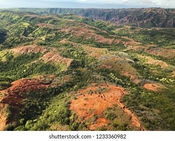 Kauai, Hawaii: Aerial Landscape of island terrain