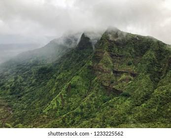 Kauai, Hawaii: Aerial view of fog covered mountains