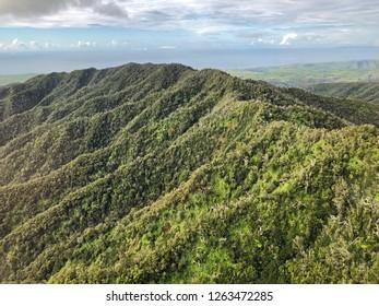 Kauai, Hawaii: aerial view of mountain