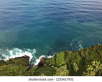 Kauai, Hawaii: Aerial view of rugged coastline and Pacific Ocean