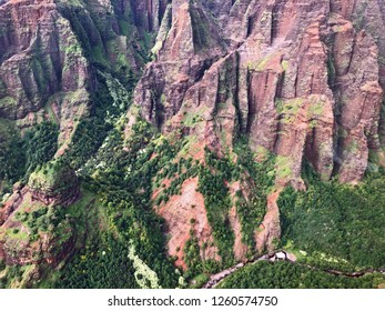 Kauai, Hawaii: close up of an aerial view of valley mountains