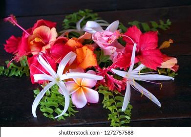 Kauai, Hawaii floral corsage of tropical flowers.
