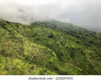 Kauai, Hawaii:  Fog covered mountain
