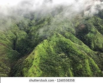Kauai, Hawaii: foggy morning on valley mountains