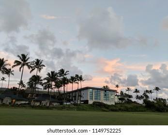 Kauai, Hawaii, United States - November 11, 2017: Hilton Garden Inn Kauai Wailua Bay boasts a beachfront location on scenic Wailua Bay at Dawn.