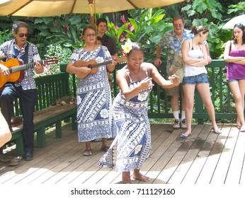 Kauai Island, Hawaii, USA, 6 April, 2008. Hula Dance at Fern Grotto at Wailua River