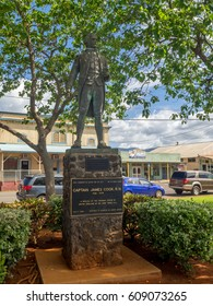 KAUAI, USA - MAR 7: Statue of James Cook in Waimea Town on March 7, 2017 in Kauai, Hawaii. This historic seaport can be found close to where British discoverer Captain James Cook first landed.