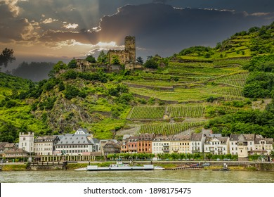 Kaub, Germany - 7-3-2013: The ruins of the Gutenfels Castle is in wine country on a hill above the Rhine River and the village of Kaub, Germany