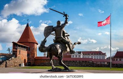 """Kaunas castle, monument to """"Vytis"""", Lithuania"""