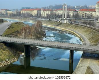 Kaunas city and Nemunas river and island view.