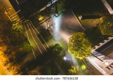 Kaunas city at night, Lithuania. Drone aerial view