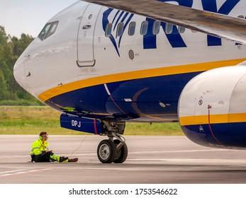 Kaunas International Airport, Kaunas / Lithuania - 2019.07.18: Ryanair Ground Service Handling