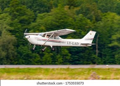 Kaunas International Airport, Kaunas / Lithuania - 2019.07.18: LY-LAD Cessna 172H Skyhawk - Pilotu Mokykla Pilot School