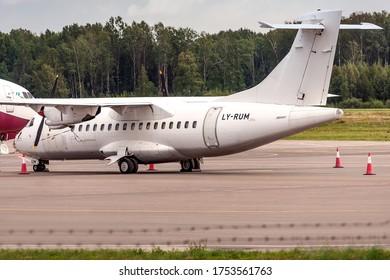 Kaunas International Airport, Kaunas / Lithuania - 2019.07.18: Danu Oro Transportas LY-RUM ATR 42/72 Cargo