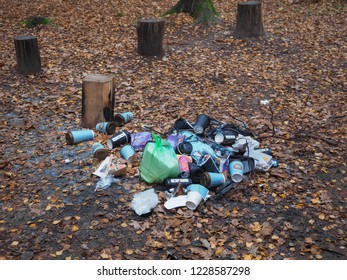 Kaunas, Lithuania - 11 09 2018: People left debris in wildlife. Pollute nature. Contaminated environment. Dumping waste. Junk. Rubbish. Trash. Damage. Dirty. Garbage. Nature protection, care. Ecology