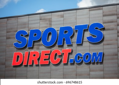 KAUNAS, LITHUANIA, 28 JULY, 2017:  Sports Direct logo with blue sky. Sports Direct International plc is a British retailing group.